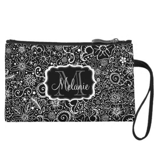 Flowerful Black & White Monogram and Name Mini Bag Wristlet Purses