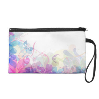 Flowerful Butterfly Abstract Wristlet
