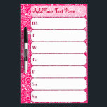 "Flowerful Personalized Weekly Schedule Dry-Erase Board<br><div class=""desc"">This marker board features a weekly chart - great for keeping track of your schedule,  workouts,  dinner menu,  chores,  reward incentives and so much more! Personalize the header text with your own name,  title or motivational message! Click CUSTOMIZE to change background color,  text color and font as needed</div>"