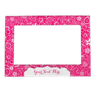 Flowerful Pink & White Custom Magnetic Frame
