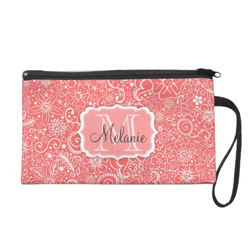 Flowerful Pink & White Monogram and Name Mini Bag Wristlets