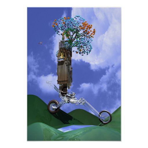 Flowergirl On A Chopper Motorcycle Motor Home Poster