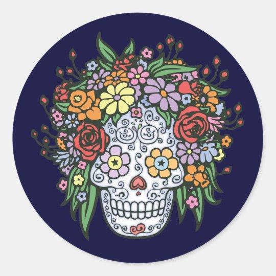 Flowerhair Sugar Skull Classic Round Sticker