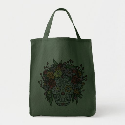 Flowerhair Sugar Skull Grocery Tote Bag