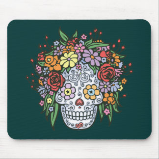 Flowerhair Sugar Skull Mouse Pad
