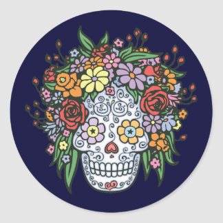 Flowerhair Sugar Skull Round Stickers