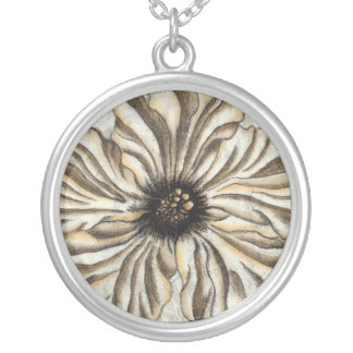 Flowerhead Fresco on Tan Background Silver Plated Necklace