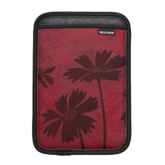 Flowerhead Silhouettes on Crimson Background Sleeve For iPad Mini