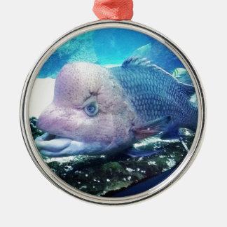 Flowerhorn Cichlid Fish Metal Ornament