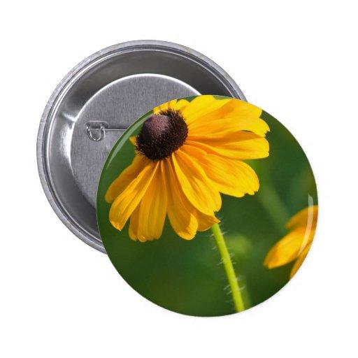 Flowering Black Eyed Susans Round Button