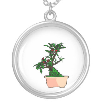Flowering Bonsai in Pink Square Pot Round Pendant Necklace