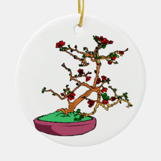 Flowering bonsai leaning tree in pot Double-Sided ceramic round christmas ornament