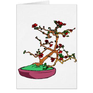 Flowering bonsai leaning tree in pot greeting card