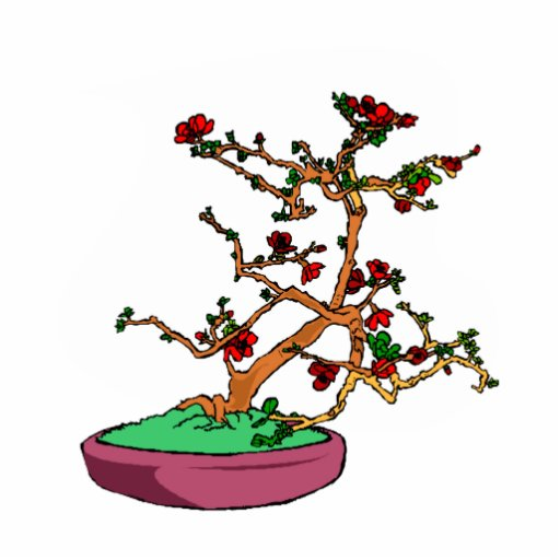 Flowering bonsai leaning tree in pot standing photo sculpture