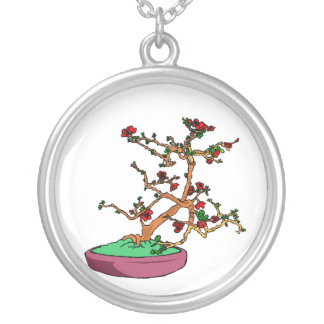 Flowering bonsai leaning tree in pot round pendant necklace