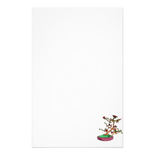 Flowering bonsai leaning tree in pot customized stationery