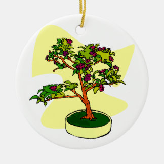 Flowering Bonsai Purple With Background Double-Sided Ceramic Round Christmas Ornament