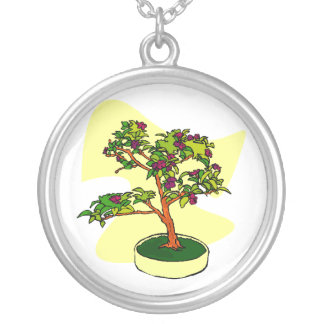 Flowering Bonsai Purple With Background Round Pendant Necklace