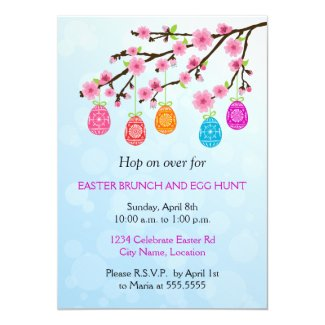 Flowering Branch Easter Eggs Party 5x7 Paper Invitation Card