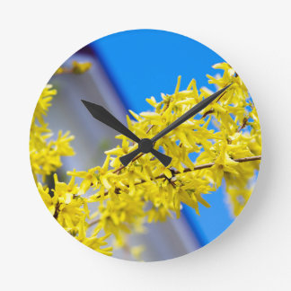 Flowering branch with yellow flowers round clock