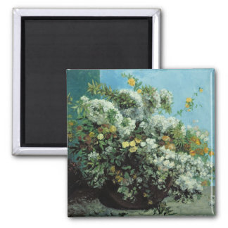 Flowering Branches and Flowers, 1855 2 Inch Square Magnet