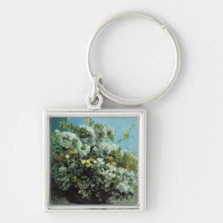 Flowering Branches and Flowers, 1855 Silver-Colored Square Keychain