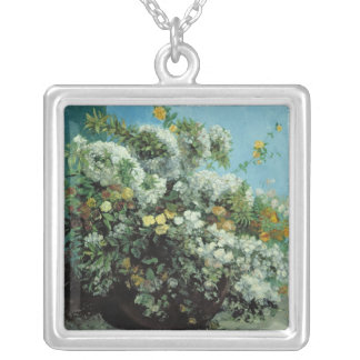 Flowering Branches and Flowers, 1855 Silver Plated Necklace
