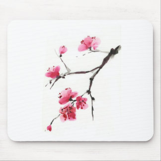 Flowering cherry. Spring. Ink and brush. Mouse Pad