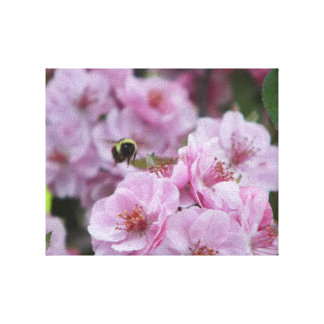 flowering crab tree and bee canvas print