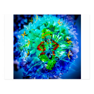 Flowering fantasy musician postcard