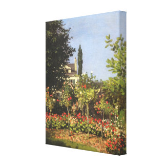 Flowering Garden at Sainte-Adresse by Claude Monet Stretched Canvas Print