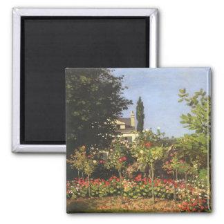 Flowering Garden at Sainte-Adresse by Claude Monet Magnets
