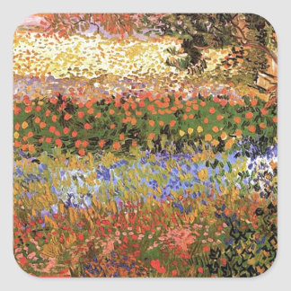 Flowering Garden,Vincent van Gogh. Square Sticker