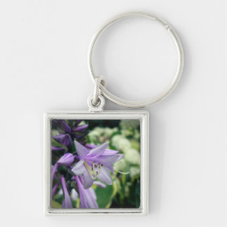 Flowering Hosta Silver-Colored Square Keychain