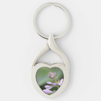 Flowering Hosta Silver-Colored Heart-Shaped Metal Keychain