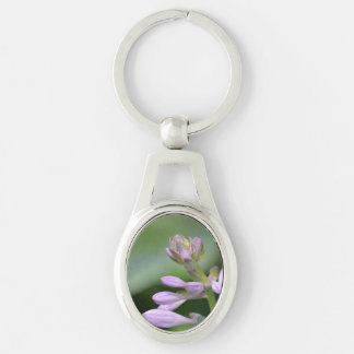Flowering Hosta Silver-Colored Oval Metal Keychain