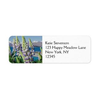Flowering Lupine New Zealand Landscape Return Address Label