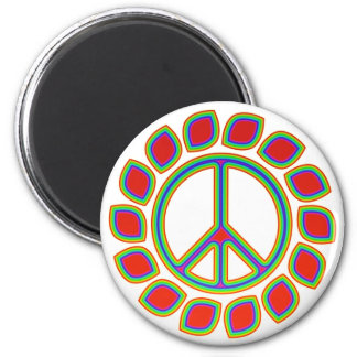 FLOWERING PEACE SIGN 2 INCH ROUND MAGNET