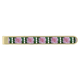 Flowering Pink Camelia Gold Finish Tie Clip