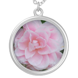 Flowering Pink Camelia Silver Plated Necklace