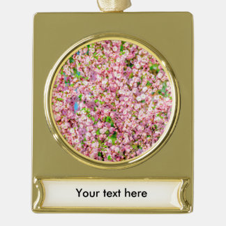 Flowering Plum Gold Plated Banner Ornament