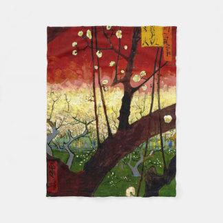 Flowering Plum Tree After Hiroshige by Van Gogh Fleece Blanket