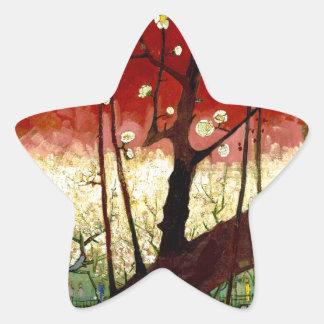 Flowering Plum Tree after Hiroshige by Van Gogh Star Sticker
