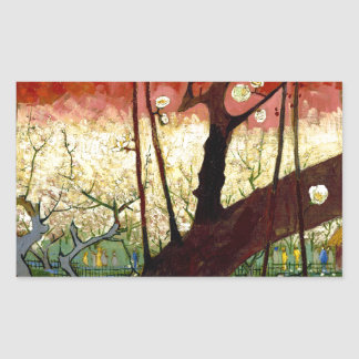 Flowering Plum Tree after Hiroshige by Van Gogh Rectangle Stickers