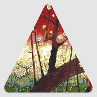 Flowering Plum Tree after Hiroshige by Van Gogh Triangle Sticker