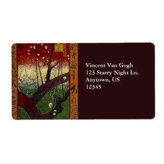 Flowering Plum Tree by Vincent Van Gogh Label