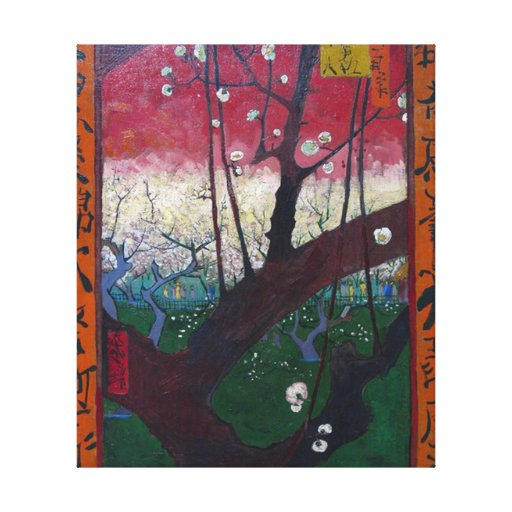 Flowering Plum Tree Stretched Canvas Prints