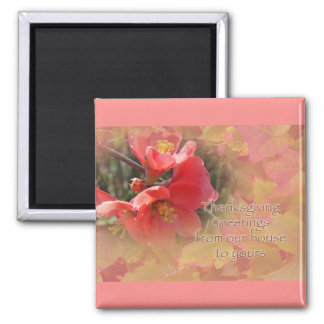 Flowering Quince - Chaenomeles speciosa 2 Inch Square Magnet