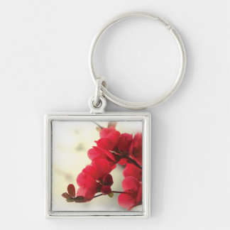Flowering Quince Silver-Colored Square Keychain