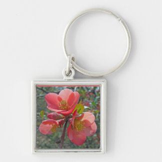 Flowering Quince Tree Silver-Colored Square Keychain